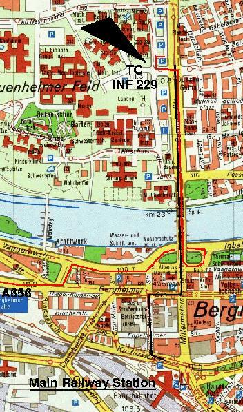 Heidelberg University Campus Map.How To Reach Us