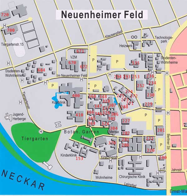 Heidelberg University Campus Map.How To Reach Us
